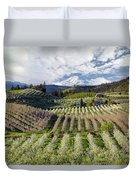Hood River Pear Orchards On A Cloudy Day Duvet Cover