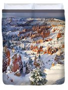 Hoodoos And Fir Tree In Winter Bryce Canyon Np Utah Duvet Cover