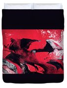 Hope - Red Black And White Abstract Art Painting Duvet Cover