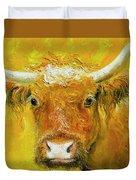 Horned Cow Painting Duvet Cover