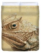 Horned Toad Duvet Cover by James W Johnson