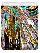 Horse Abstract Brown And Blue Duvet Cover