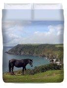 Horse Along Coastal Path Cornwall Duvet Cover