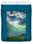 Horse Among The Mountains Of Georgia Duvet Cover
