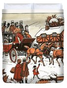 Horse And Carriage In The Snow Duvet Cover