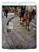 Horse And Carriage On Cobblestoned Alvarez Quintero Street In Th Duvet Cover