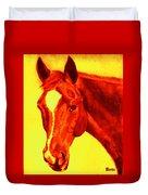 Horse Art Horse Portrait Maduro Deep Yellow And Orange Duvet Cover