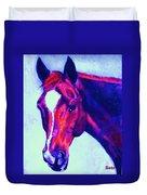 Horse Art Horse Portrait Maduro Psychedelic Duvet Cover