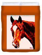 Horse Art Horse Portrait Maduro Red With Yellow Highlights Duvet Cover