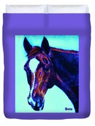 Horse Art Horse Portrait Maduro Striking Purple Duvet Cover