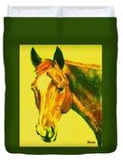 Horse Art Horse Portrait Maduro Yellow Duvet Cover
