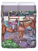 Horse At Zoo Duvet Cover