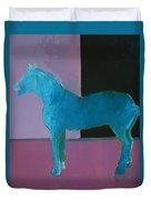 Horse, Blue On Lavender Duvet Cover