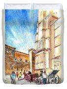 Horse Carriages In Palma De Mallorca Duvet Cover