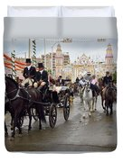 Horse Drawn Carriages And Women On Horseback Riding Sidesaddle O Duvet Cover