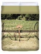 Horse Drawn Hay Rake Aged Duvet Cover