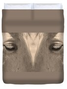 Horse Eyes Love Sepia Duvet Cover