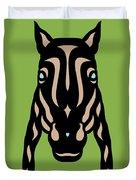 Horse Face Rick - Horse Pop Art - Greenery, Hazelnut, Island Paradise Blue Duvet Cover