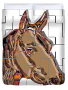 Horse Faces Of Life 4 Duvet Cover