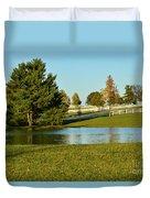 Horse Farm Pond Duvet Cover