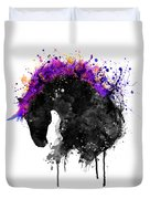 Horse Head Watercolor Silhouette Duvet Cover