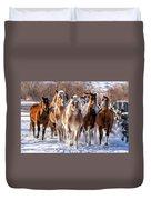 Horse Herd In Snow Duvet Cover