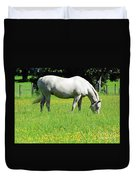 Horse In A Field Of Flowers Duvet Cover