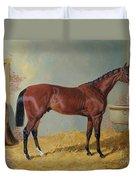 Horse In A Stable Duvet Cover by John Frederick Herring Snr