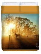 Horse In The Fog At Dawn Duvet Cover