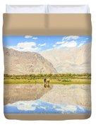 Horse On Lake Duvet Cover