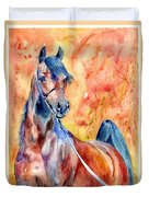 Horse On The Orange Background Duvet Cover