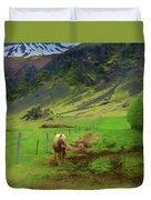 Horse On The South Iceland Coast Duvet Cover