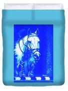 Horse Painting Jumper No Faults Aquamarine Duvet Cover
