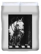 Horse Painting  Jumper No Faults Black And White Duvet Cover