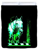 Horse Painting Jumper No Faults Black Blue And Green Duvet Cover