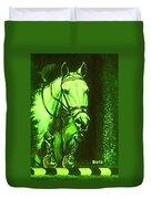Horse Painting Jumper No Faults Deep Greens Duvet Cover