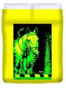 Horse Painting Jumper No Faults Green And Yellow Duvet Cover