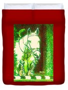Horse Painting Jumper No Faults Green With Reds Duvet Cover