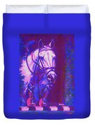 Horse Painting Jumper No Faults Purple And Blue Duvet Cover