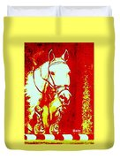 Horse Painting Jumper No Faults Red And White Duvet Cover