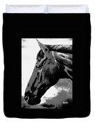 horse portrait PRINCETON black and white Duvet Cover