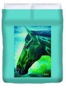 horse portrait PRINCETON blue green Duvet Cover