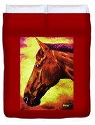 horse portrait PRINCETON purple brown yellow Duvet Cover