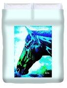 horse portrait PRINCETON really blue Duvet Cover