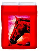 horse portrait PRINCETON red hot Duvet Cover