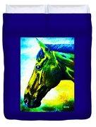 horse portrait PRINCETON vibrant yellow and blue Duvet Cover
