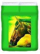 horse portrait PRINCETON yellow green Duvet Cover