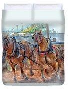 Horse Pull At The Fair Duvet Cover