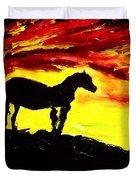 Horse Rider In The Sunset Duvet Cover