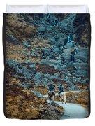Horse Riders At Mahon Falls Duvet Cover